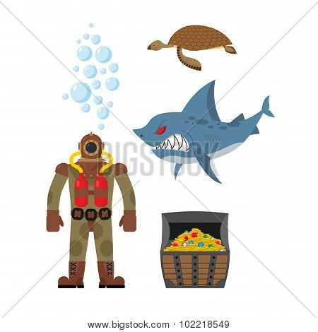 Marine Set A Diver And Shark. Sea Turtle And Treasure Chest. Vector Icons Set Inhabitants Of Ocean.