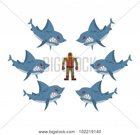 Angry Sharks Surrounded Man In Old Diving Suit. Fear, Hopeless Situation. Farted With Fear Go Bubble