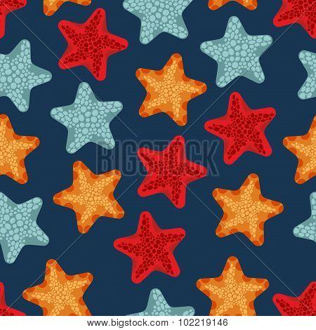 Starfish Seamless Pattern. Vector Background Of Deep-sea Animals Ocean. Marine Retro Ornament.