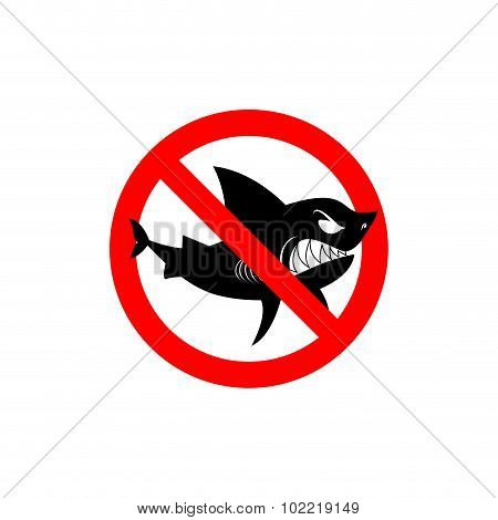 Sharks Is Prohibited. Shark Ban. Area Of Water Free From Predators. Forbidding Sign. Red Circle With