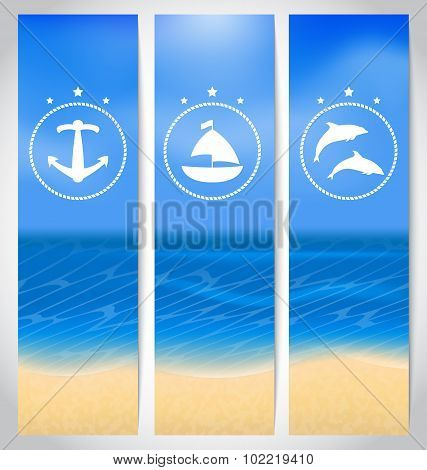 Set labels with beach, summer cards