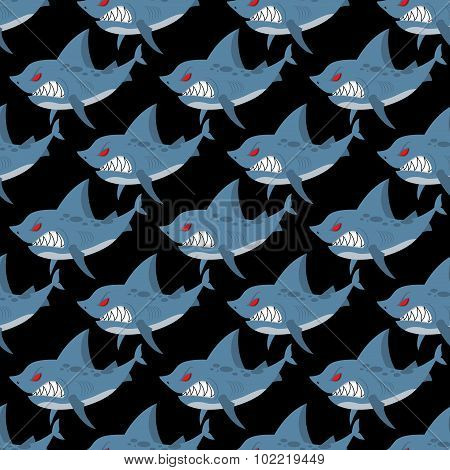 Shark Seamless Pattern. Many Angry, Ferocious Marine Animals. Vector Background Of Underwater Inhabi