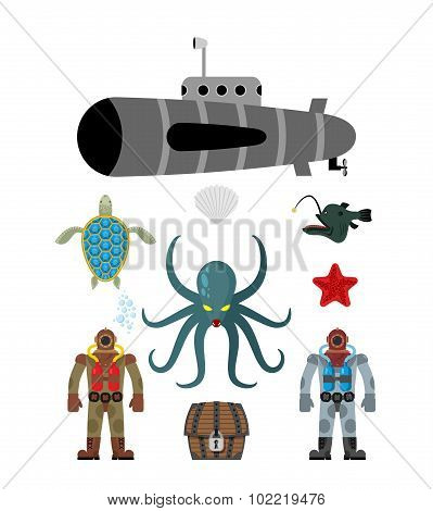 Marine Set Symbol. Divers And Treasure Chest. Octopus Cthulhu And Submarine. Water Turtle And Starfi