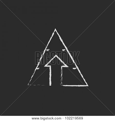 Pyramid with arrow up hand drawn in chalk on a blackboard vector white icon isolated on a black background.