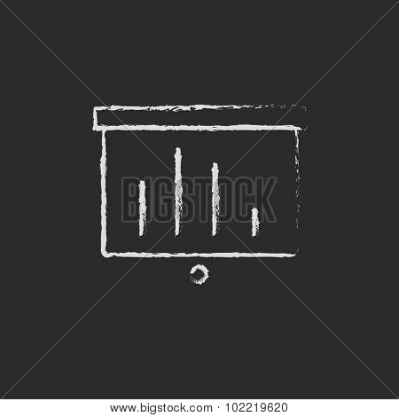Projector roller screen hand drawn in chalk on a blackboard vector white icon isolated on a black background.