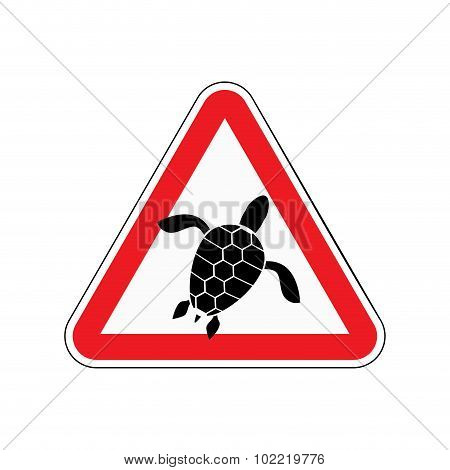 Danger Sign Turtle. Attention Here Live Marine Reptiles. Vector Red Triangle Mark