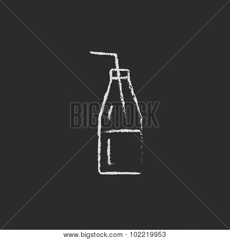 Glass bottle with drinking hand drawn in chalk on a blackboard vector white icon isolated on a black background.