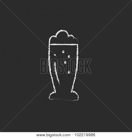 Glass of beer hand drawn in chalk on a blackboard vector white icon isolated on a black background.