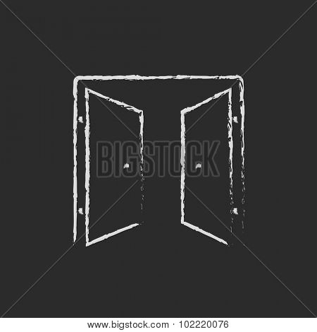 Open doors hand drawn in chalk on a blackboard vector white icon isolated on a black background.