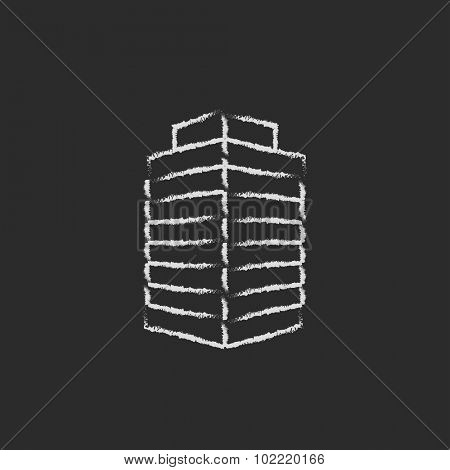 Office building hand drawn in chalk on a blackboard vector white icon isolated on a black background.