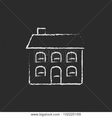 Two storey detached house hand drawn in chalk on a blackboard vector white icon isolated on a black background.