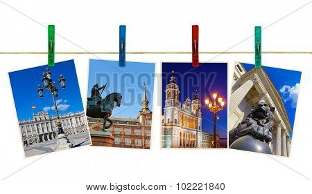 Madrid Spain photography on clothespins isolated on white background