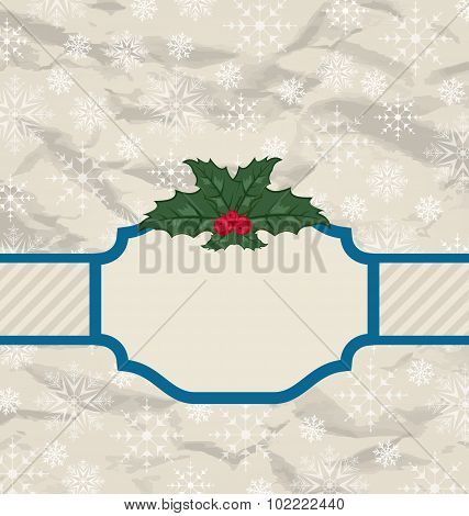Retro greeting card with holly berry