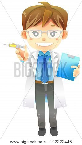 Highly Detail Illustration Cartoon Male Physician Doctor In White Coat Uniform With Injection Syring
