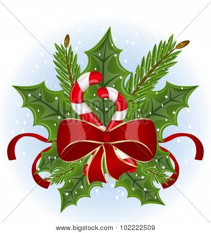 Christmas holly berry branches and bow isolated - vector