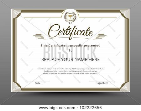 Certificate, Diploma Of Completion, Certificate Of Achievement Design Template. Vector Illustration