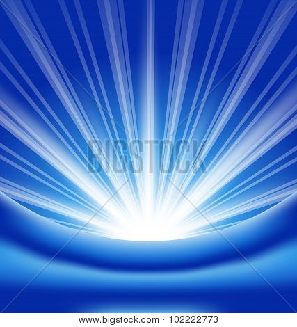 Lens flare rays, blue abstract background