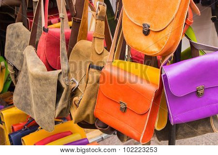 Collection Of Leather Handbags On Stall At The Bazaar