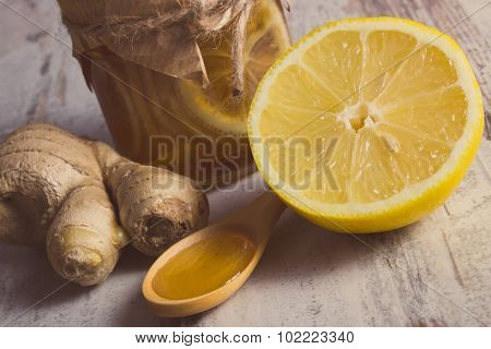Vintage Photo, Fresh Lemon, Honey And Ginger On Wooden Table, Healthy Nutrition