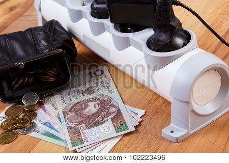 Electrical Power Strip With Connected Plugs And Polish Currency Money, Energy Costs