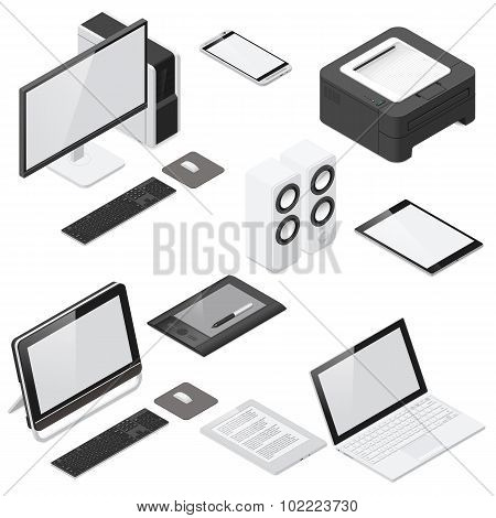 Computer And Office Devices Detailed Isometric Icon Set