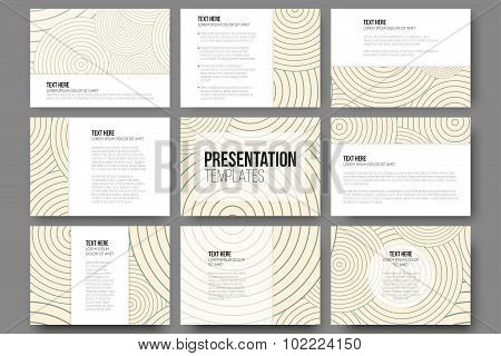 Set of 9 templates for presentation slides. Modern stylish geometric backgrounds with circles. Simpl