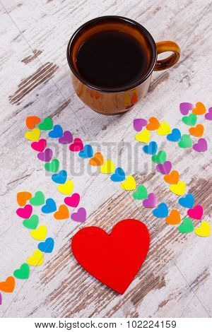 Cardiogram Line Of Paper Hearts And Cup Of Coffee, Medicine And Healthcare Concept