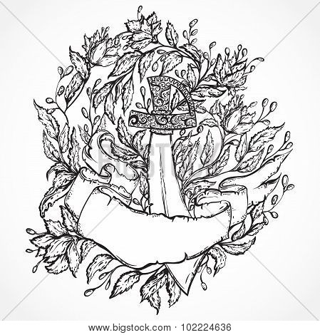 Pirate sword, flowers, leaves and ribbon banner. Vintage floral highly detailed hand drawn illustrat