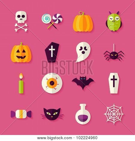 Flat Halloween Trick Or Treat Objects Set With Shadow