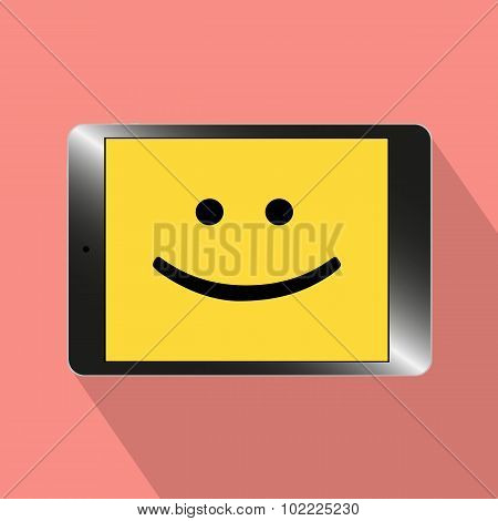 Illustration Of The Smiling Tablet Computer
