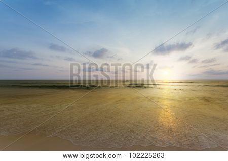Blurred Beach And Sea Waves