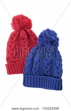 Two Cable Knit Bobble Hats