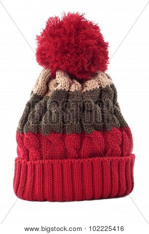 Red Striped Bobble Hat