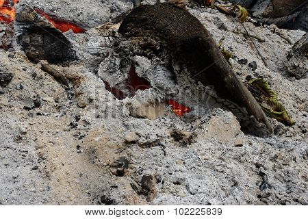 The Ashes From The Fire Slowly Burning Logs Linden Trees