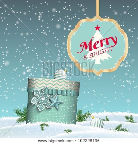 Holiday background, blue gift box, sign with text Merry and bright, christmas vector illustration