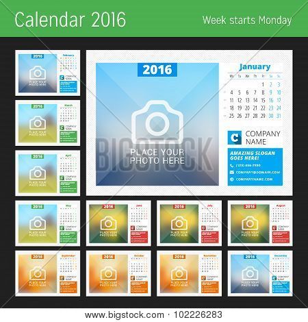 Desk Calendar For 2016 Year. Vector Design Print Template With Place For Photo, Logo And Contact Inf