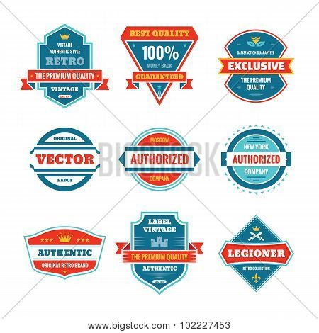Vector graphic badges collection in flat style design. Original vintage badges.