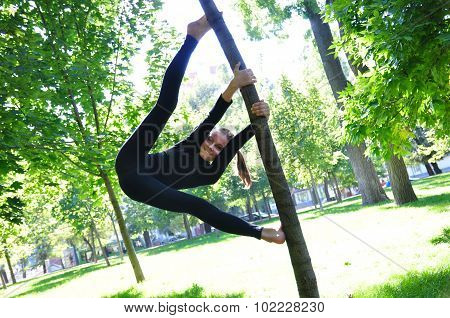 Young Acrobat Child Outdoor Workout