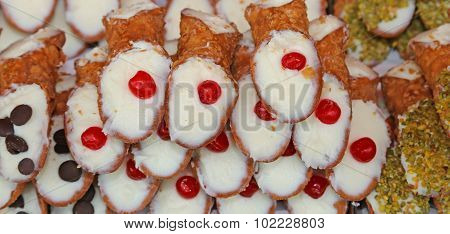 Typical Sicilian Pastries Called Cannoli With Pastry Cream For Sale In Pastry