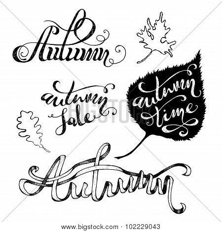 Vector Grunge Autumn Lettering.