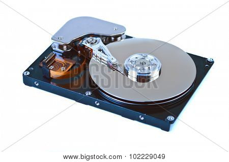 hard disk open isolated on white background
