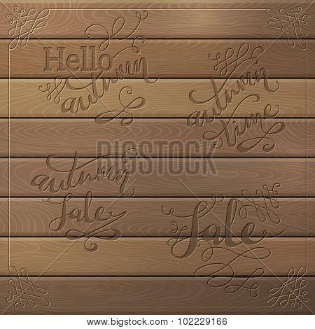 Wood Autumn Lettering.