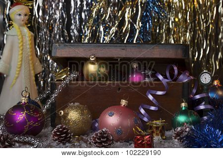 Vintage new year decoration background.Composition with different colorful christmas balls