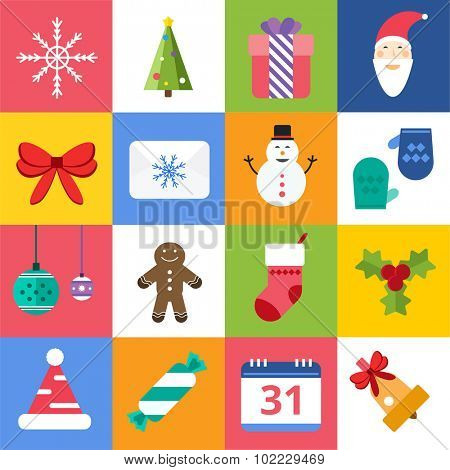 Christmas vector icons set. Christmas tree, Christmas ball, Christmas letter, Christmas Santa, Christmas cake. Christmas Gift, socks, ball, snowflake, Christmas Decoration symbols. 2016 New Year