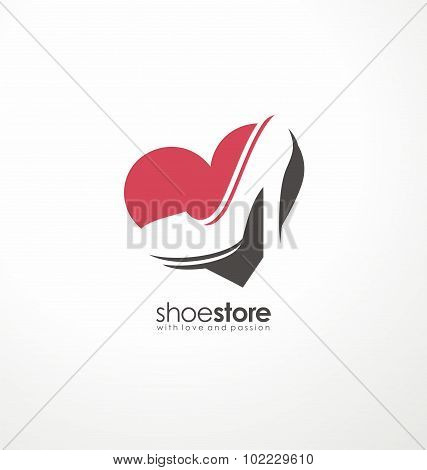 Creative logo design concept for shoe store