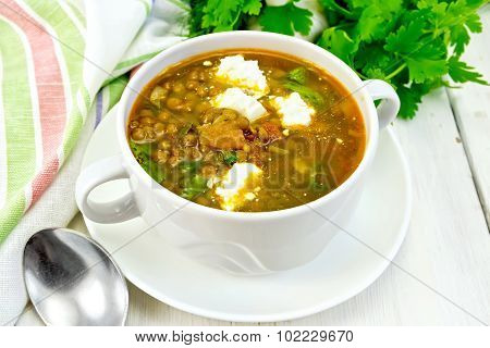 Soup lentil with spinach and cheese on light board