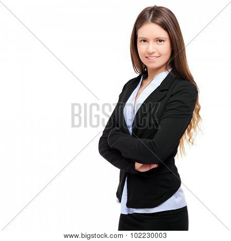 Smiling young businesswoman portrait isolated on white