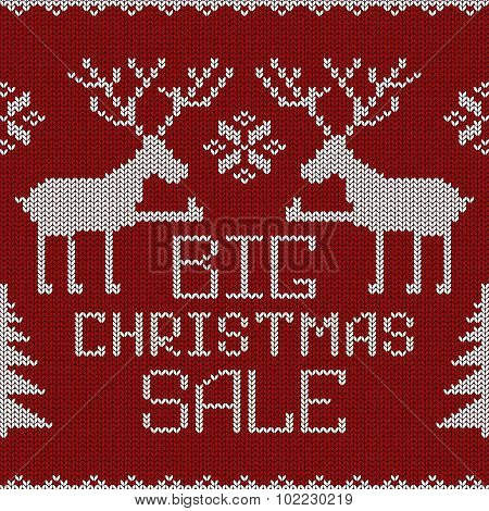 Christmas Sale Knitted Seamless Pattern Or Background.