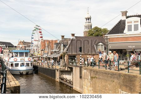 Tour Boat By The Old Lock In Lemmer.