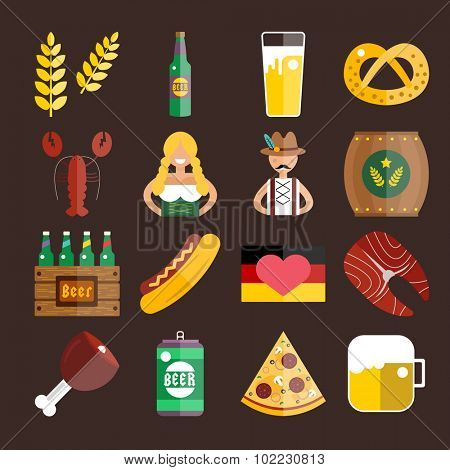 Set of flat Oktoberfest vector icons. Bottle Beer, Food and Drinks. Oktoberfest traditional German Oktoberfest festival icons, flat icons. Oktoberfest vector flat icons set